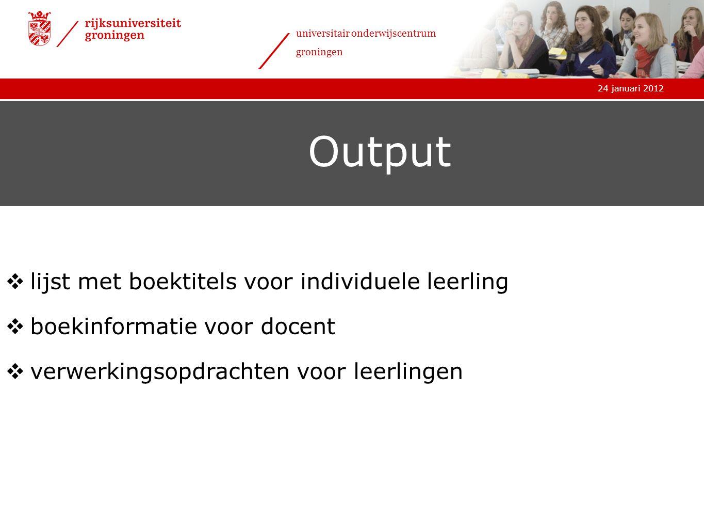 Output lijst met boektitels voor individuele leerling