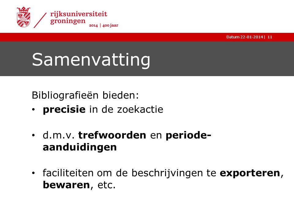 Samenvatting Bibliografieën bieden: precisie in de zoekactie