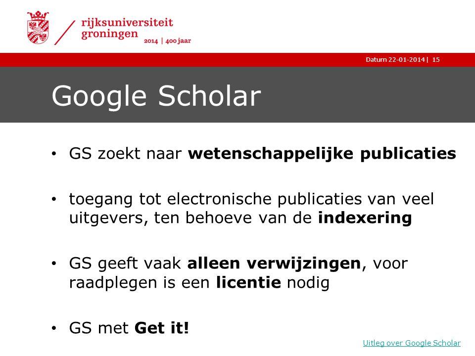 Google Scholar GS zoekt naar wetenschappelijke publicaties
