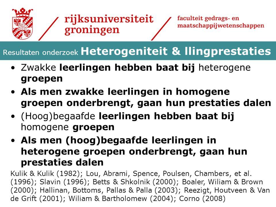Resultaten onderzoek Heterogeniteit & llingprestaties
