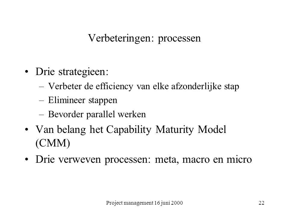 Verbeteringen: processen