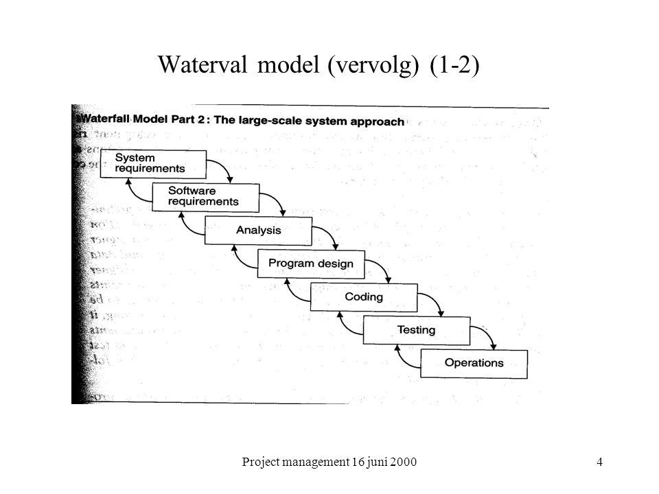 Waterval model (vervolg) (1-2)