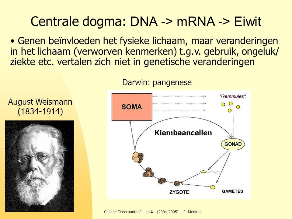 Centrale dogma: DNA -> mRNA -> Eiwit