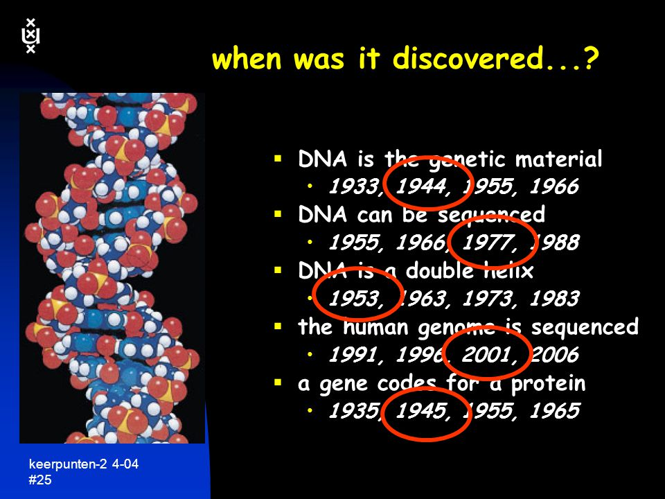 when was it discovered... DNA is the genetic material