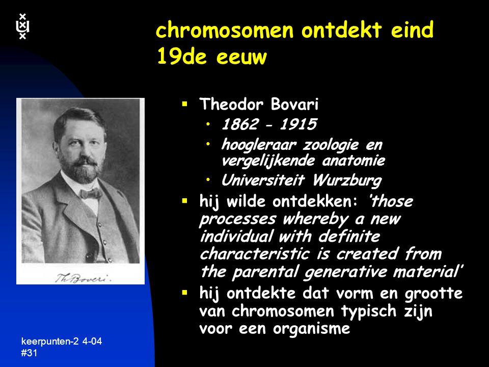 chromosomen ontdekt eind 19de eeuw