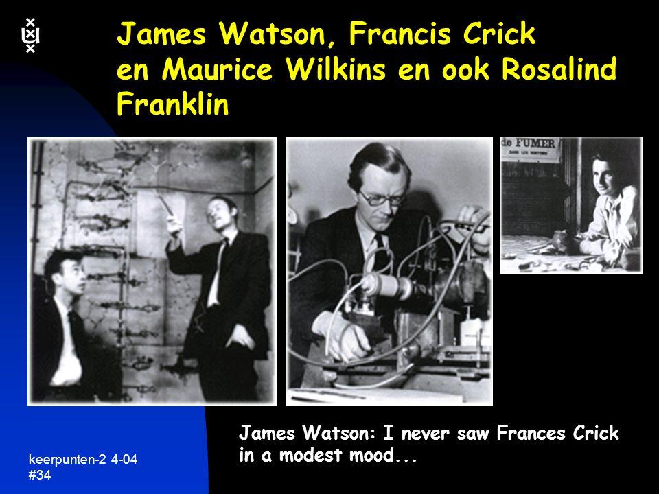James Watson, Francis Crick en Maurice Wilkins en ook Rosalind Franklin