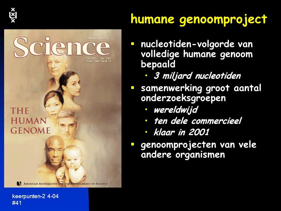 humane genoomproject nucleotiden-volgorde van volledige humane genoom bepaald. 3 miljard nucleotiden.