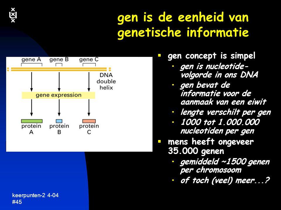 gen is de eenheid van genetische informatie