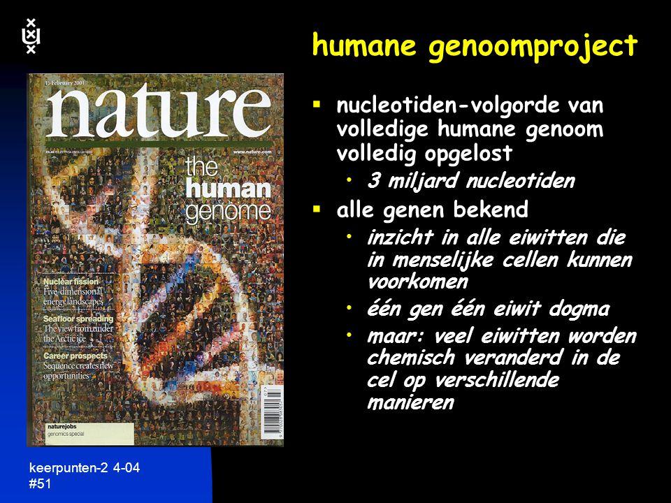 humane genoomproject nucleotiden-volgorde van volledige humane genoom volledig opgelost. 3 miljard nucleotiden.