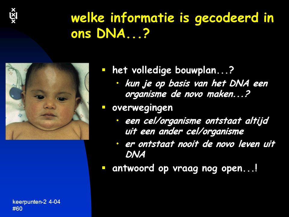 welke informatie is gecodeerd in ons DNA...
