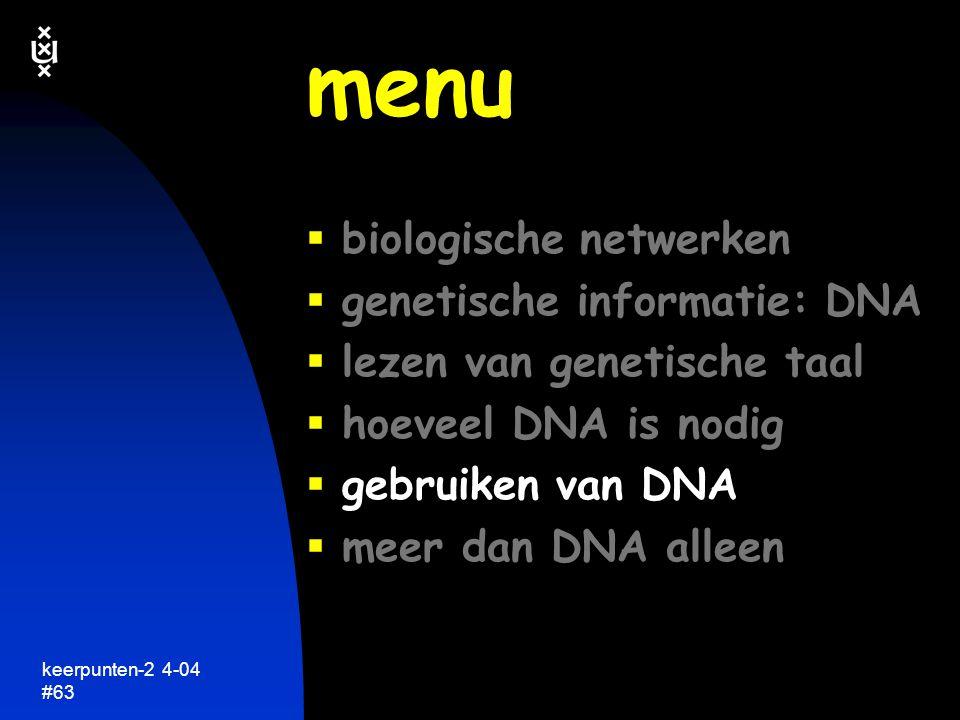 menu biologische netwerken genetische informatie: DNA