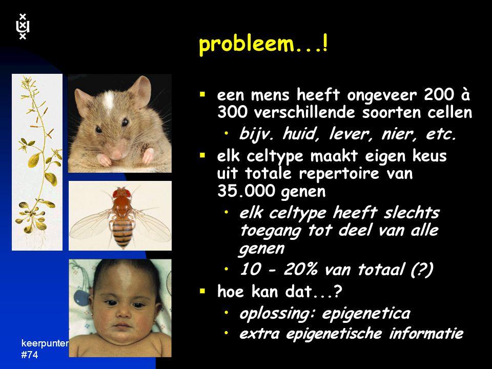 probleem...! een mens heeft ongeveer 200 à 300 verschillende soorten cellen. bijv. huid, lever, nier, etc.