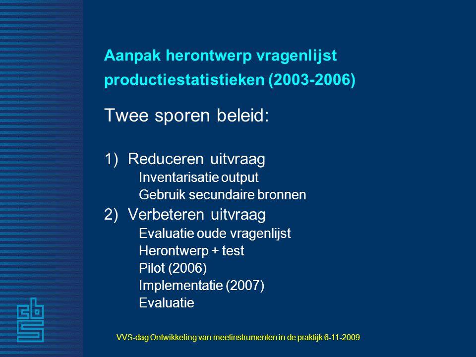 Aanpak herontwerp vragenlijst productiestatistieken (2003-2006)