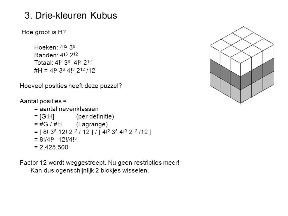 3. Drie-kleuren Kubus Hoe groot is H Hoeken: 4!2 38 Randen: 4!3 212