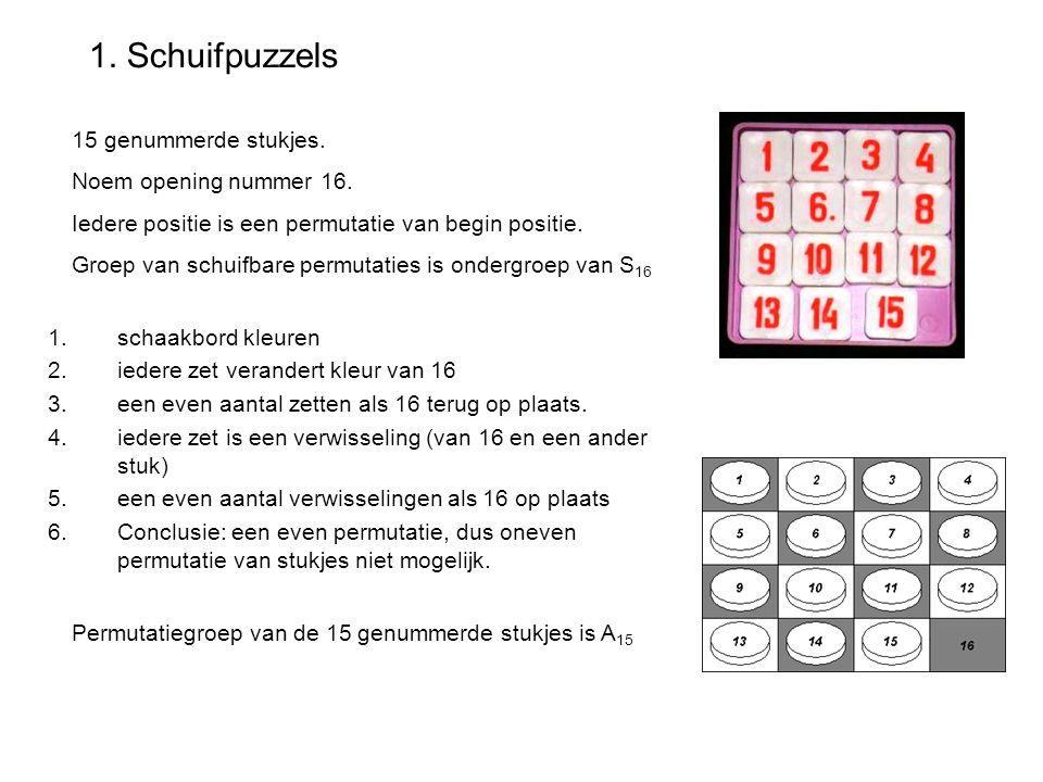 1. Schuifpuzzels 15 genummerde stukjes. Noem opening nummer 16.