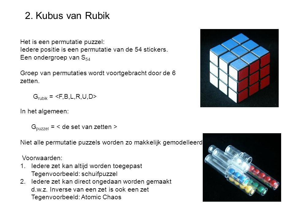 2. Kubus van Rubik Het is een permutatie puzzel: