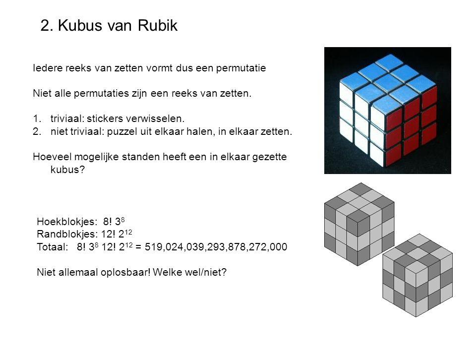 2. Kubus van Rubik Iedere reeks van zetten vormt dus een permutatie