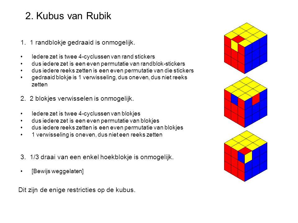 2. Kubus van Rubik 1. 1 randblokje gedraaid is onmogelijk.