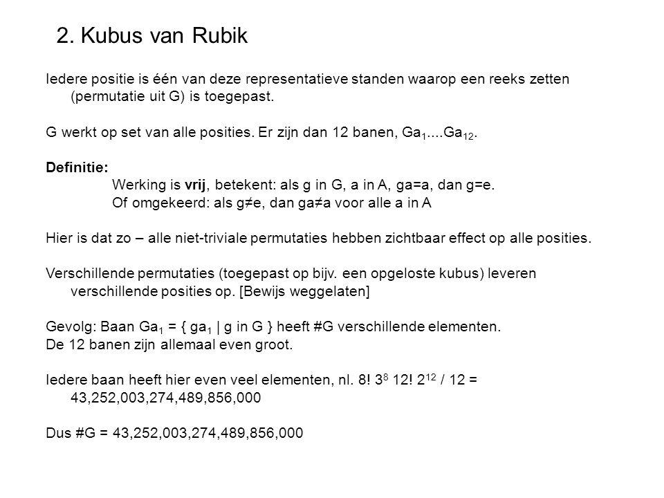 2. Kubus van Rubik Iedere positie is één van deze representatieve standen waarop een reeks zetten (permutatie uit G) is toegepast.