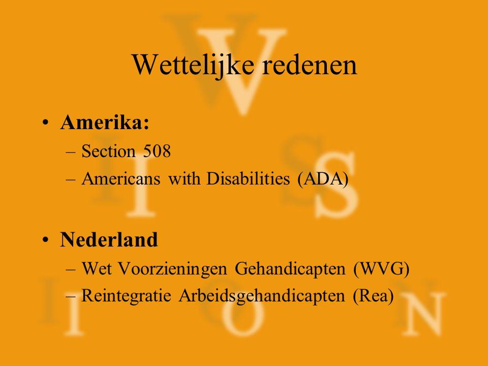 Wettelijke redenen Amerika: Nederland Section 508