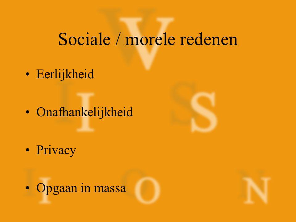 Sociale / morele redenen