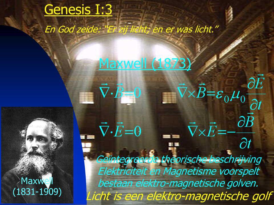 Genesis I:3 Maxwell (1873) Licht is een elektro-magnetische golf