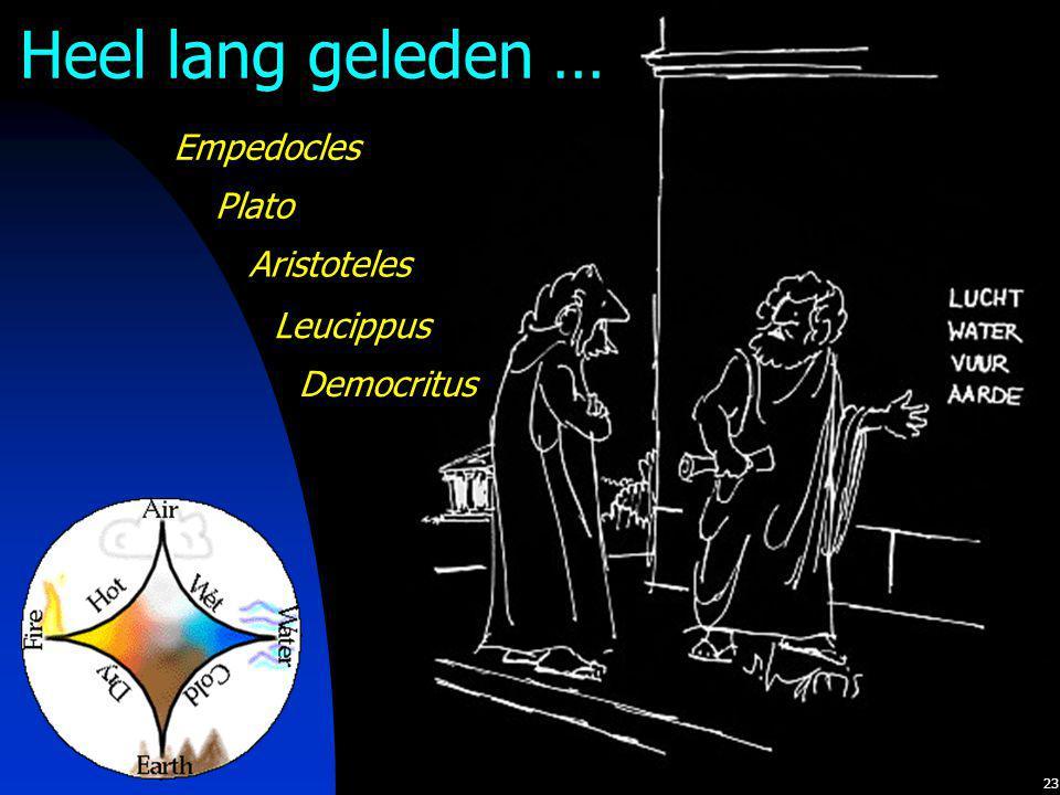 Heel lang geleden … Empedocles Plato Aristoteles Leucippus Democritus