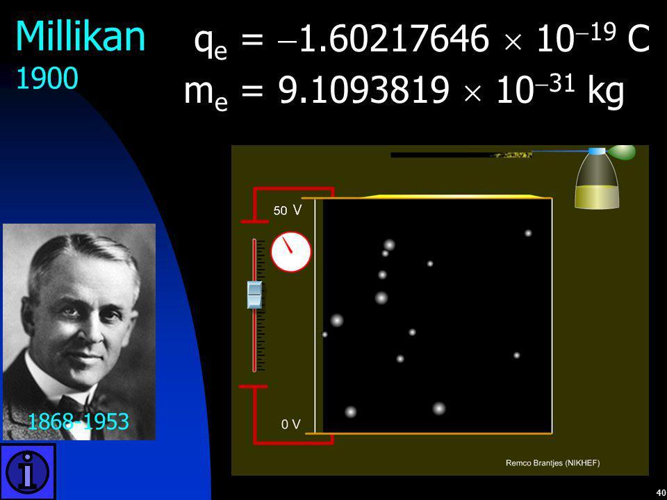 Millikan qe = 1.60217646  1019 C me = 9.1093819  1031 kg 1900