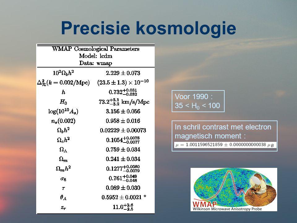 Precisie kosmologie Voor 1990 : 35 < H0 < 100