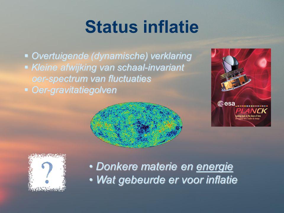 Status inflatie Donkere materie en energie
