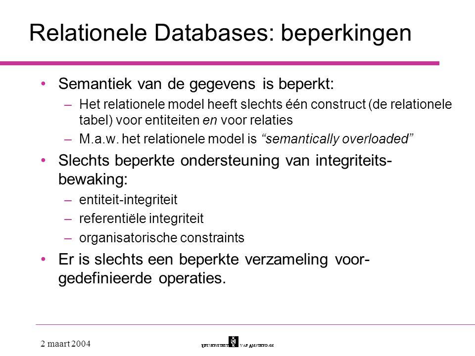 Relationele Databases: beperkingen