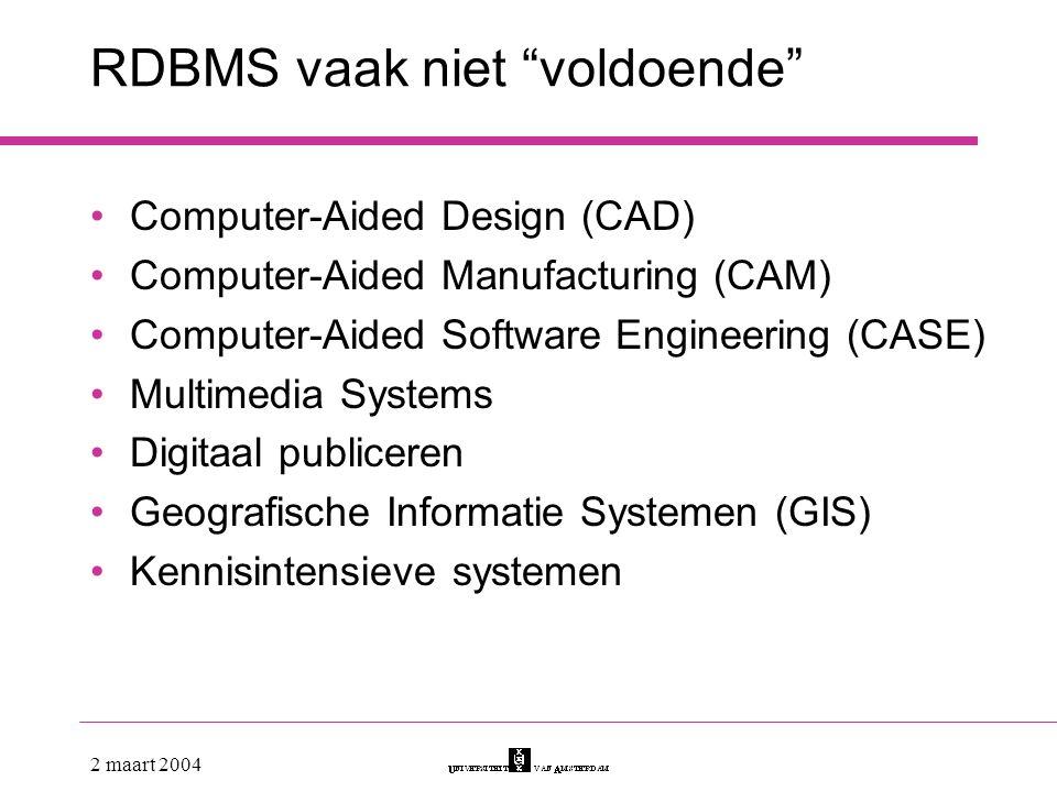 RDBMS vaak niet voldoende