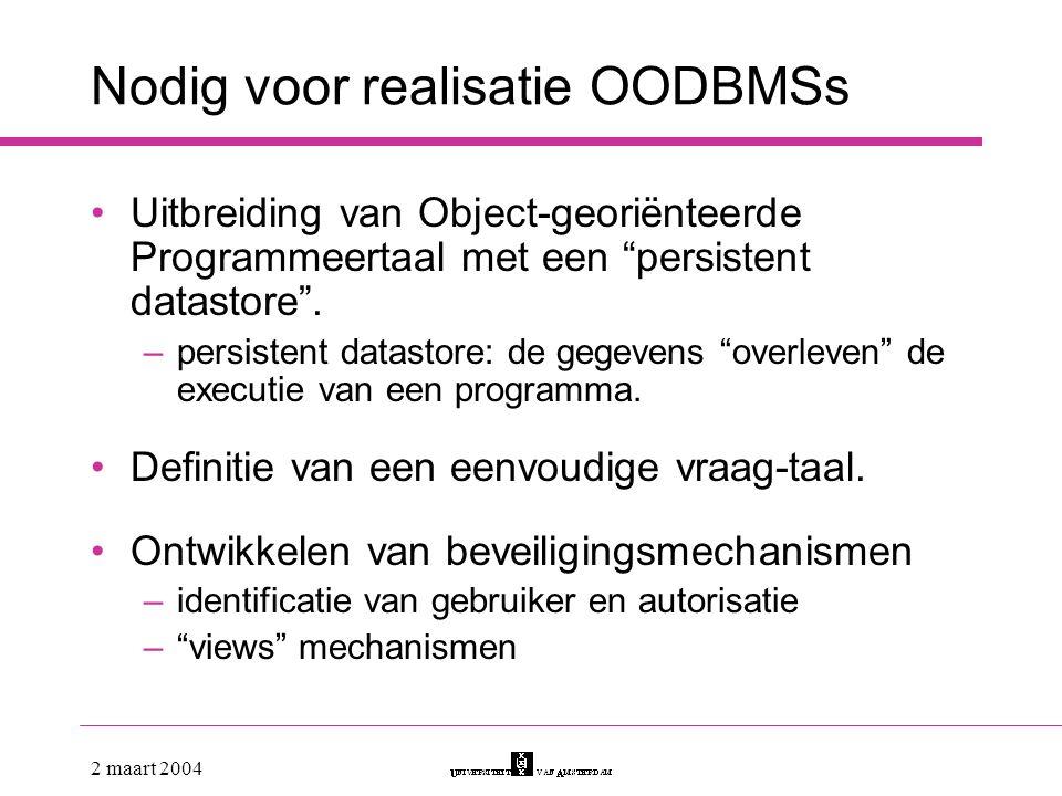 Nodig voor realisatie OODBMSs