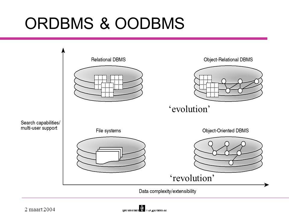 ORDBMS & OODBMS 'evolution' 'revolution' 2 maart 2004