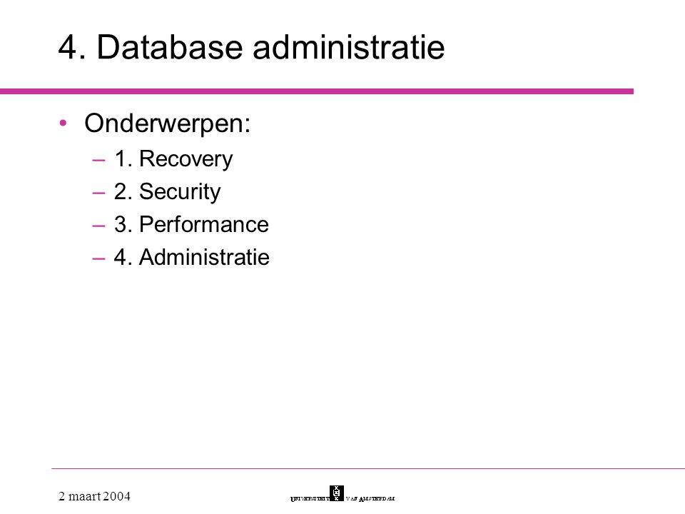 4. Database administratie