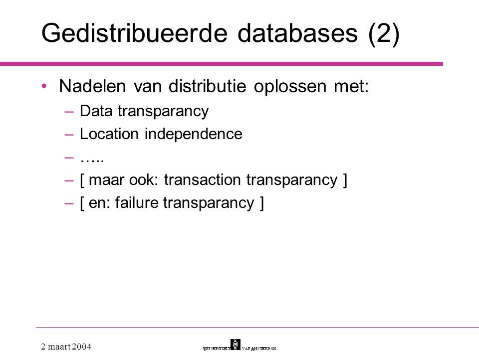 Gedistribueerde databases (2)