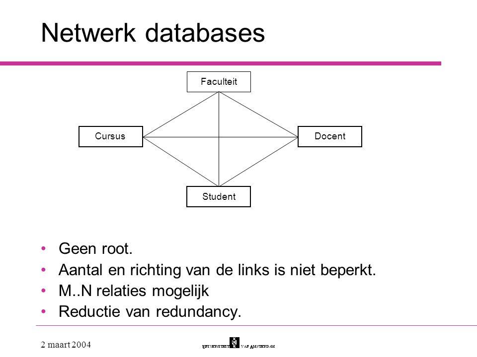 Netwerk databases Geen root.