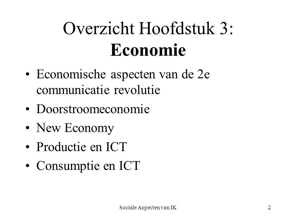 Overzicht Hoofdstuk 3: Economie