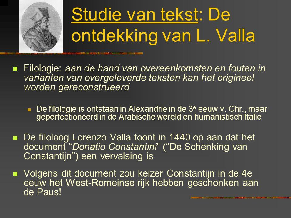 Studie van tekst: De ontdekking van L. Valla