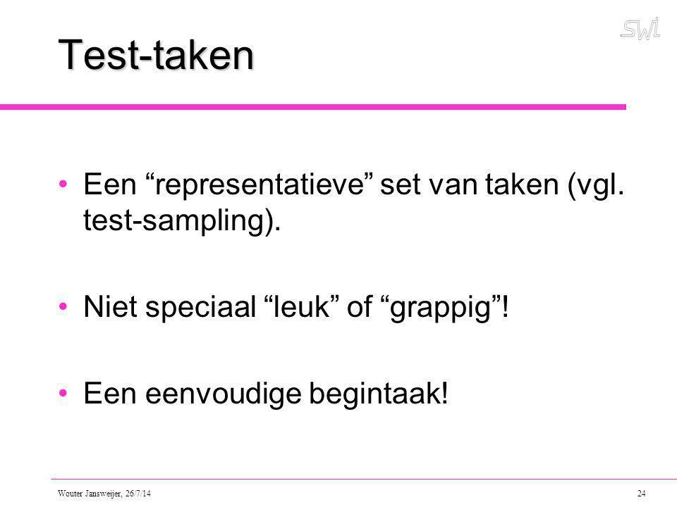 Test-taken Een representatieve set van taken (vgl. test-sampling).