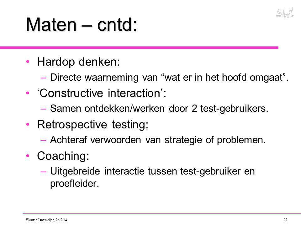 Maten – cntd: Hardop denken: 'Constructive interaction':