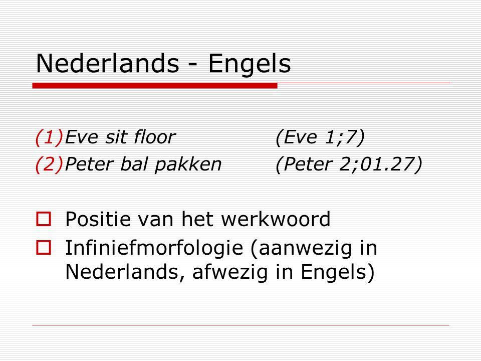 Nederlands - Engels Positie van het werkwoord