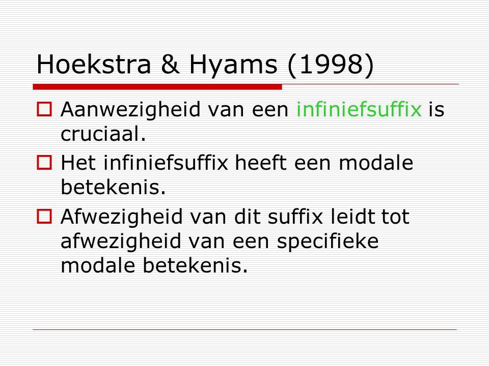 Hoekstra & Hyams (1998) Aanwezigheid van een infiniefsuffix is cruciaal. Het infiniefsuffix heeft een modale betekenis.
