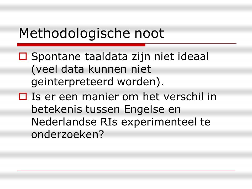 Methodologische noot Spontane taaldata zijn niet ideaal (veel data kunnen niet geinterpreteerd worden).