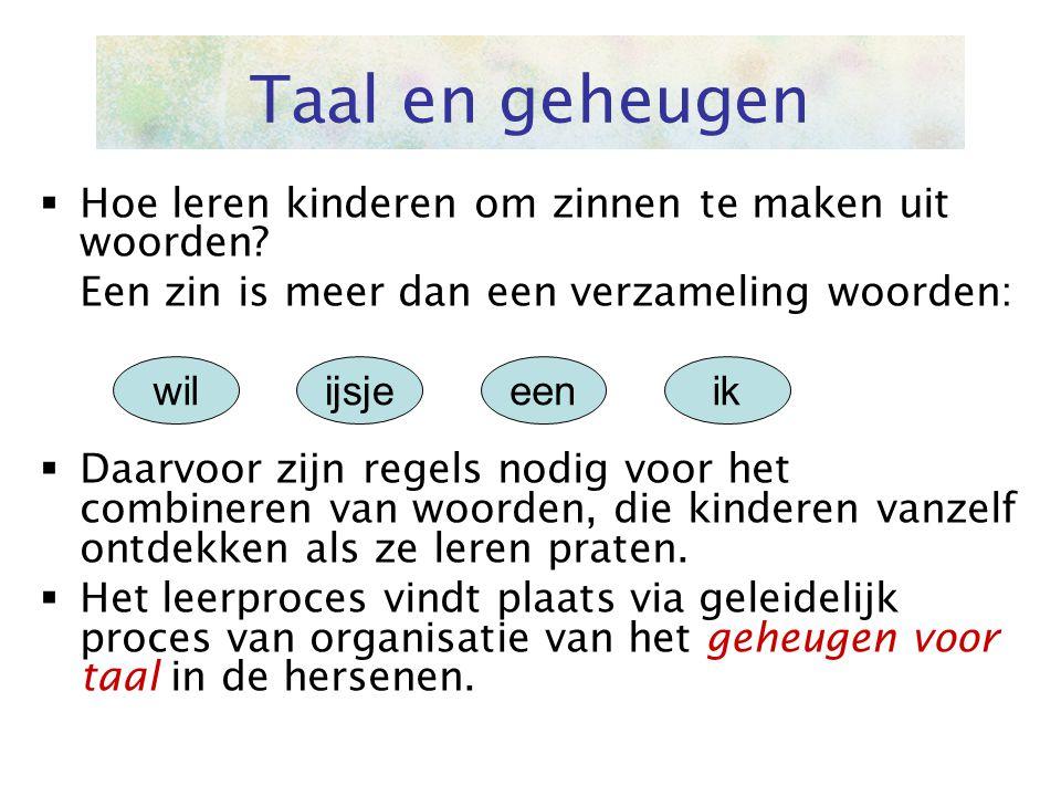 Taal en geheugen Hoe leren kinderen om zinnen te maken uit woorden