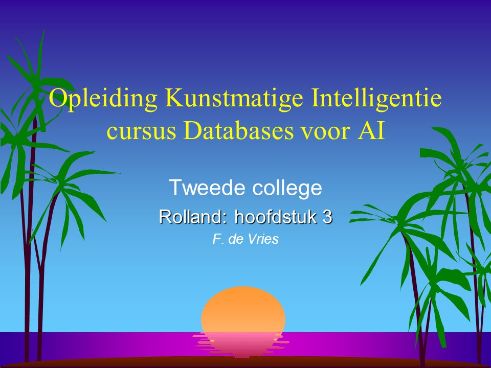 Opleiding Kunstmatige Intelligentie cursus Databases voor AI