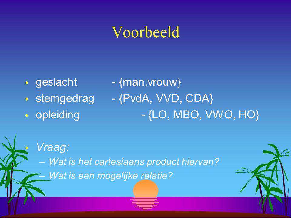 Voorbeeld geslacht - {man,vrouw} stemgedrag - {PvdA, VVD, CDA}