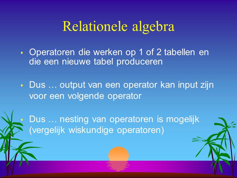 Relationele algebra Operatoren die werken op 1 of 2 tabellen en die een nieuwe tabel produceren.