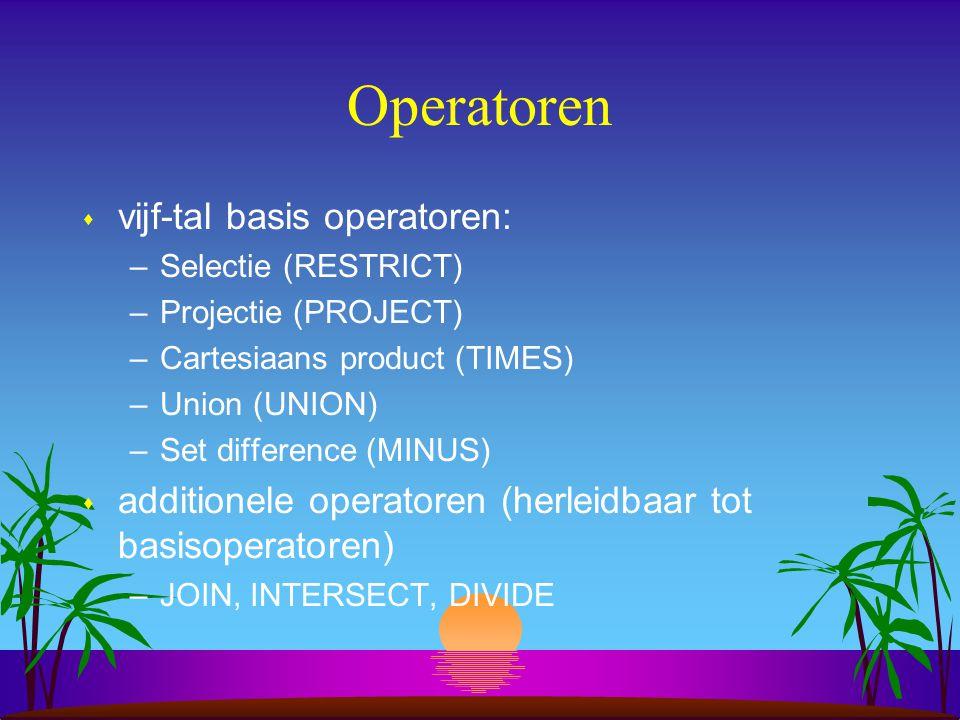 Operatoren vijf-tal basis operatoren: