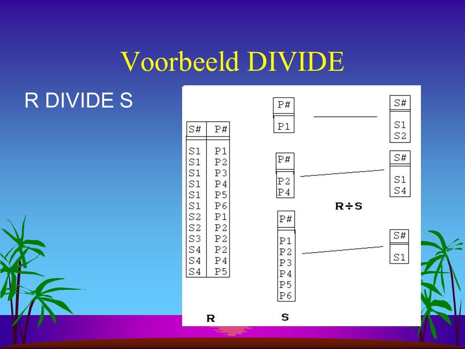 Voorbeeld DIVIDE R DIVIDE S